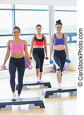 Fitness class performing step aerobics exercise with dumbbells