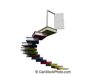 Steps made out of books with open door