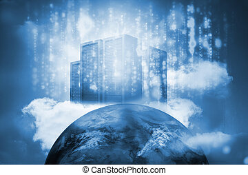 Server tower on top of earth with glowing matrix
