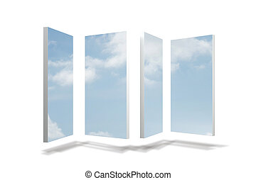 Panes showing sky
