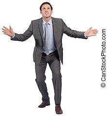 posición, hombre de negocios, brazos, afuera