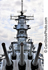 USS Missouri bridge and 16 inch gun turrets