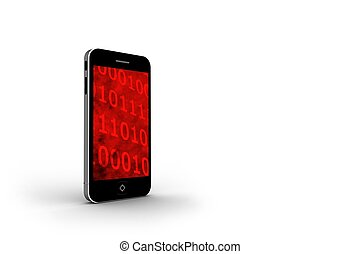 Binary code on smartphone screen