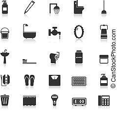 Bathroom icons with reflect on white background