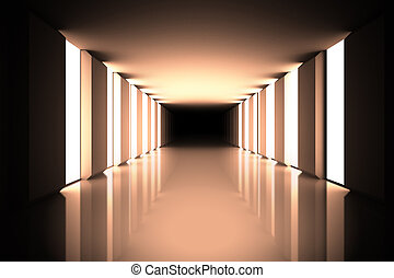 Lit up black modern hallway