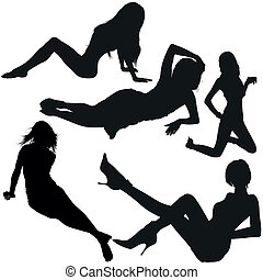 Girl Silhouettes - Laying Girl - Black Silhouettes, Vector
