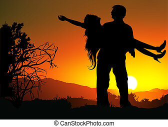 Romantic Silhouettes - Romantic Love - Colored Background...