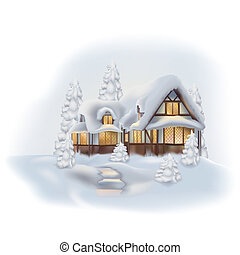 Snowy Cottage - Colored Winter Illustration, Vector