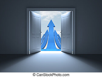 Door opening to show blue arrows