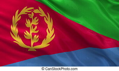 Flag of Eritrea - seamless loop - Flag of Eritrea waving in...