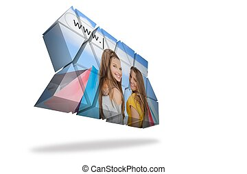Girls shopping on abstract screen