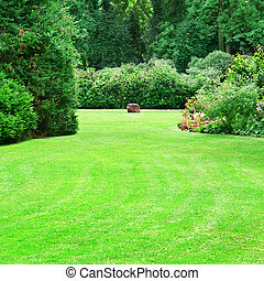 beautiful summer garden with large green lawns