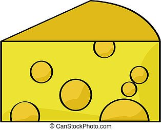 Cartoon cheese - Cartoon illustration of a piece of cheese
