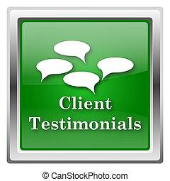 Client testimonials icon - Metallic icon with white design...