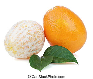 Fresh orange fruits with green leaves isolated on white background. Closeup.