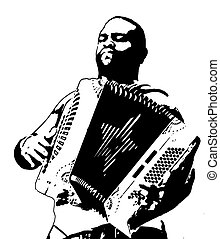 accordion player 2 - illustration of a accordion player on...