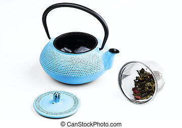 pig-iron teapot - blue pig-iron teapot and stainless-steel...
