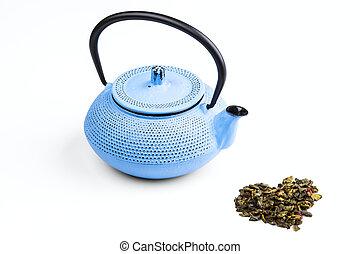 pig-iron teapot - blue pig-iron teapot and green tea...