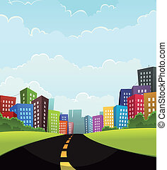 Summer Or Spring Town - Illustration of a cartoon road going...