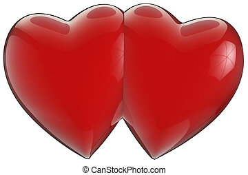 two hearts joined with clipping path