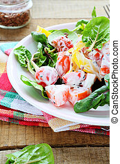 fresh salad of peppers, tomatoes with Greek yogurt, food...