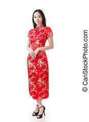 Chinese woman dress traditional cheongsam - Sexy Chinese...