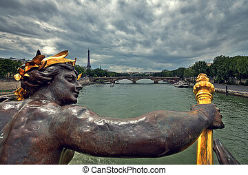 View on Paris from Alexander III Bridge - View of Seine...