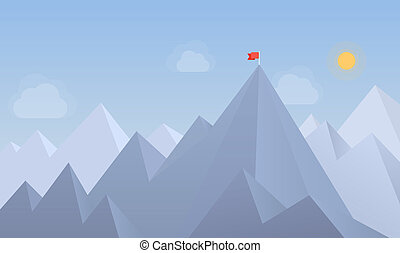 Flag on the peak illustration - Flat design modern vector...