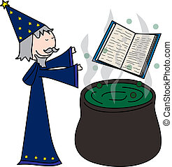Sorcerer - Cartoon style illustration of a sorcerer casting...
