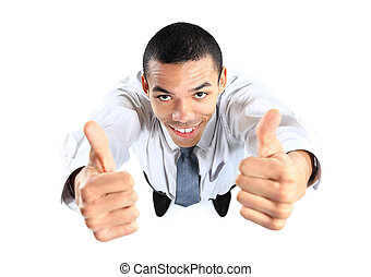 Top view of african businessman giving OK gesture
