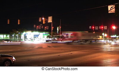 Busy Intersection Time-Lapse - Time-lapse of night traffic...