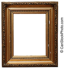 Picture frame - Golden picture frame isolated on white...