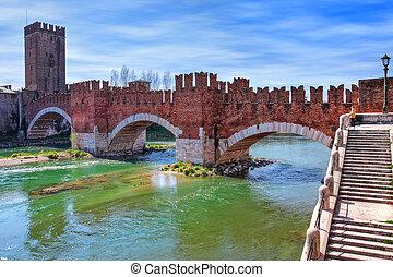 Castelvecchio bridge across the river - Famous red brick...