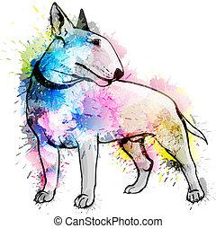 Stier, terrier, Grunge, abbildung