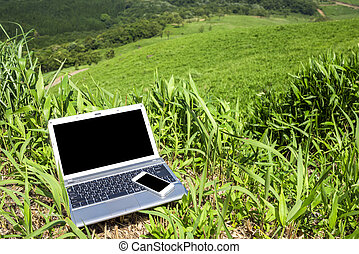 Laptop and smart phone - Notebook computer and smart phone...
