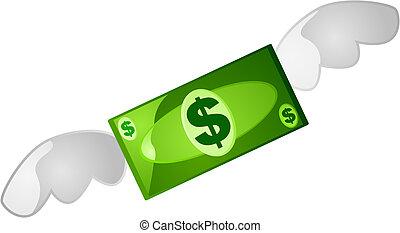 Money flying - Illustration of a green money bill flying...