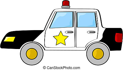 Cartoon police car - Cartoon illustration of a black and...