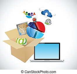 laptop and box full of app and tools. illustration