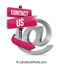 contact us online symbol illustration design over a black...
