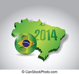 brazil map and soccer ball illustration design over a grey...