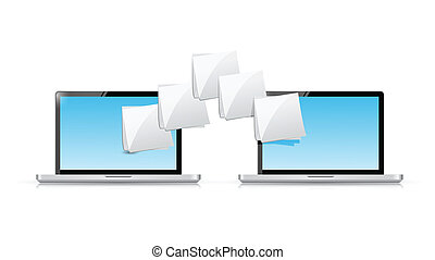 laptop file transfer illustration design over a white...