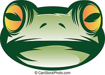 Frog Face - Illustration of a green frog face icon