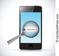 phone search bar online illustration design over a white...