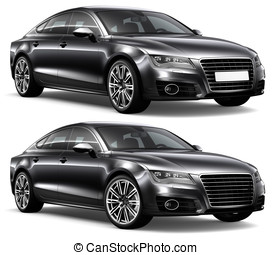 LUXURY BLACK CAR - Luxury black car on a white background