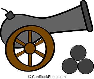 Cannon - Cartoon illustration of an old cannon, with cannon...