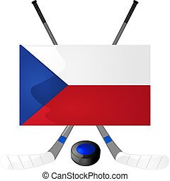 Czech hockey - Illustration of hockey sticks, puck and a...