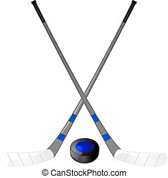 Hockey puck and sticks - Illustration of a hockey puck with...
