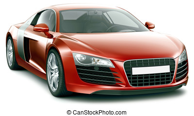 Red sporty premium-class car - Red sports car on a white...