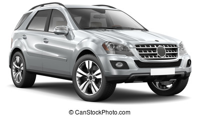 MODERN SILVER SUV CAR - Suv car on a white background