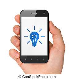Finance concept: Light Bulb on smartphone - Finance concept:...